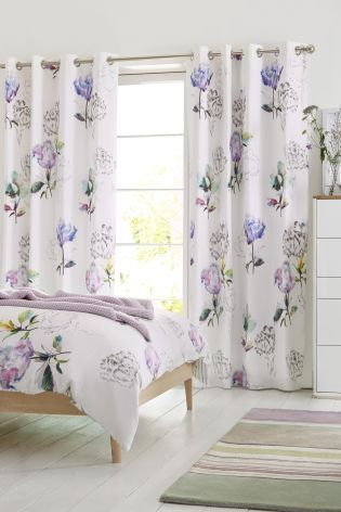 Buy Cotton Sateen Blackout Lined Eyelet Floral Curtains from the ...