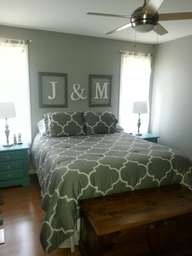 Framed initials above the bed for our master bedroom - Master bedroom art above bed ...