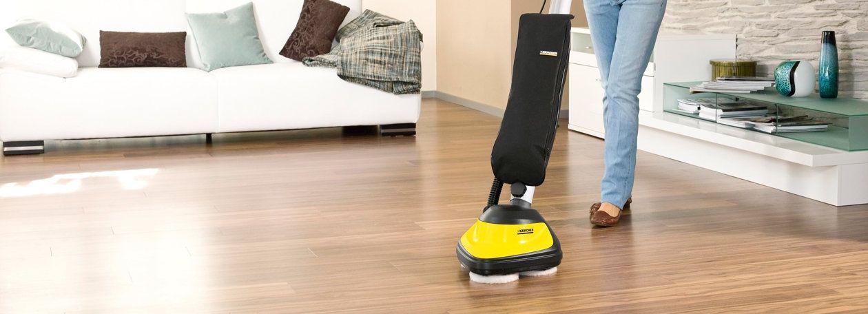 Polishing Floors To A High Gloss Shine The Karcher Vacuum Polisher Polishes Parquet Laminate Stone Pvc Cork Or Li Polish Floor Flooring Waterproof Flooring
