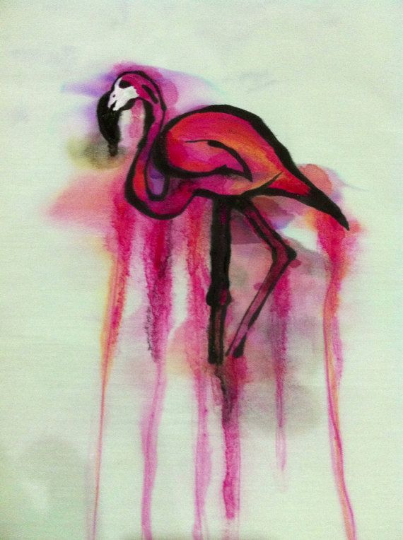 Hardwick Designs Watercolour Flamingo by LincolnCraftClub on Etsy, £20.00