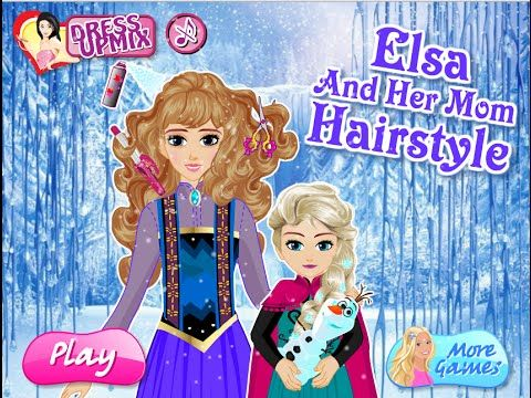 Elsa And Her Mom Hairstyle Frozen Games Frozen Games Mom Hairstyles Play More Games