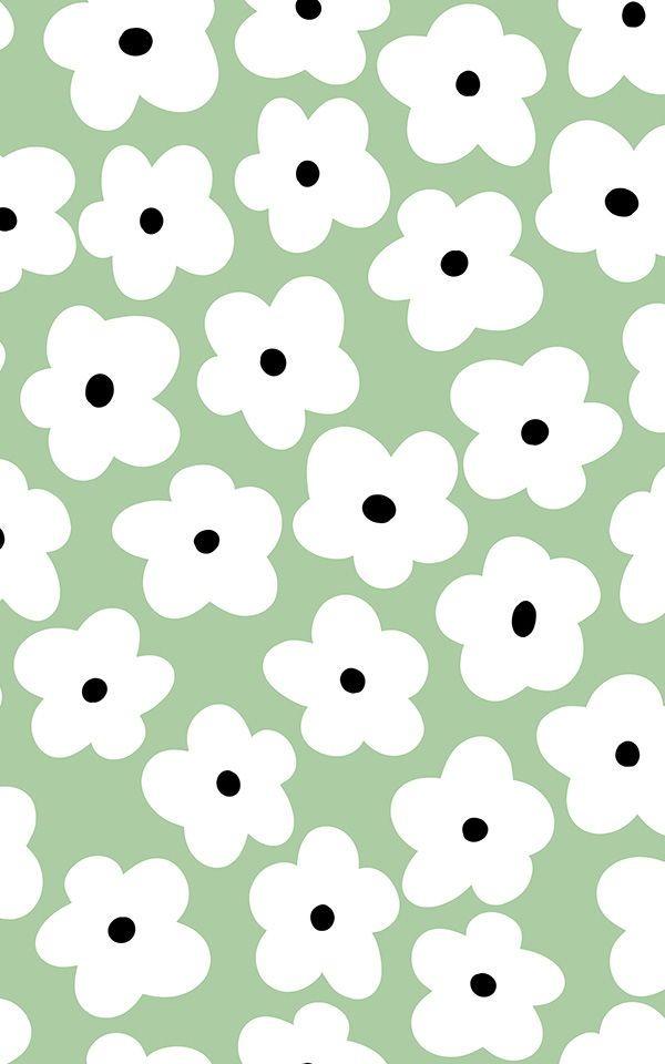 Green Retro Floral Pattern Vinyl Flooring