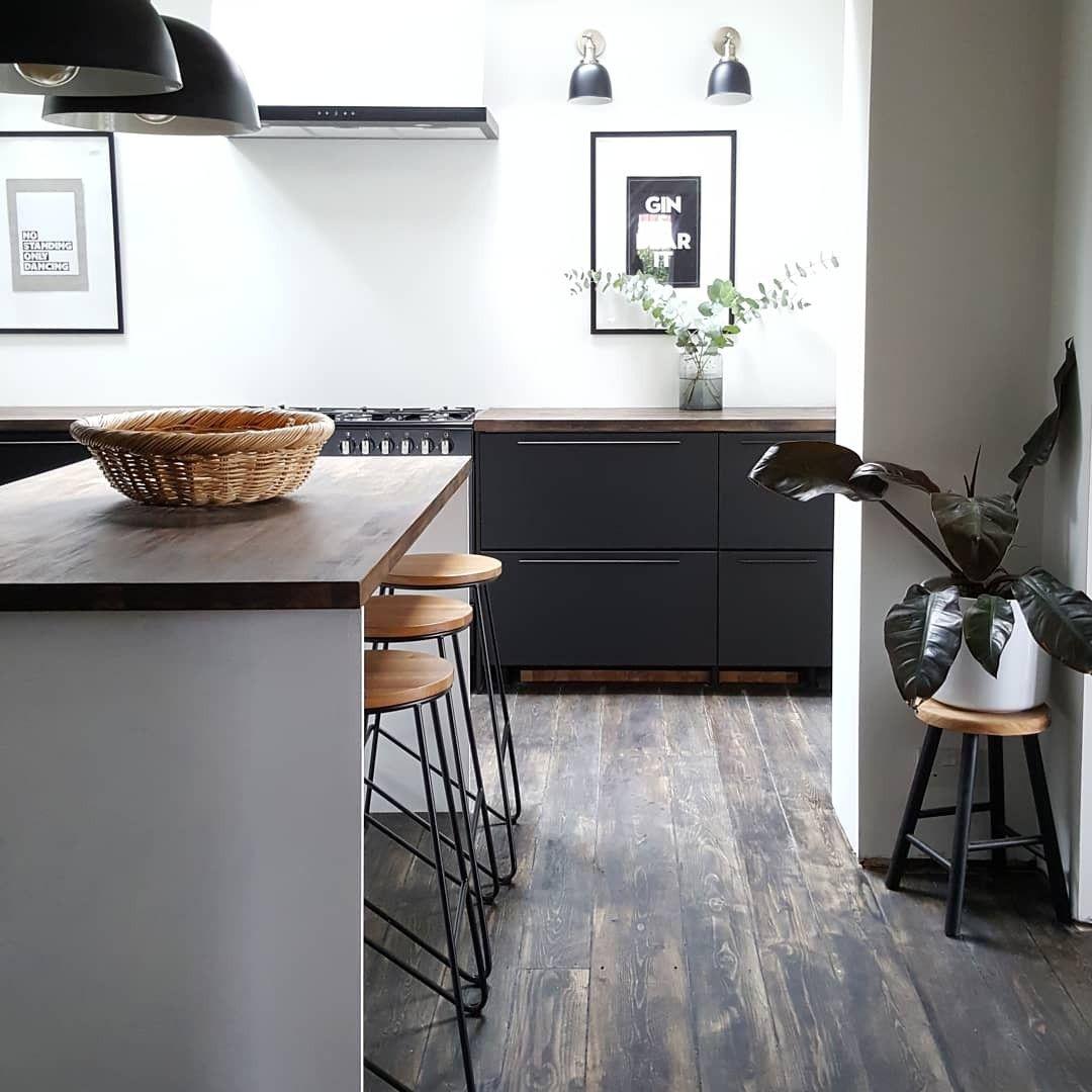 Monochrome kitchen Trendy kitchen, Black ikea kitchen