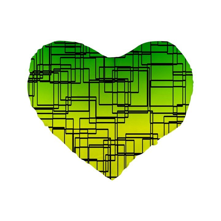 "Geometrical Lines Pattern, Asymmetric Blocks Theme, Line Art Standard 16"" Premium Flano Heart Shape Cushions Standard 16"" Premium Flano Heart Shape Cushion"
