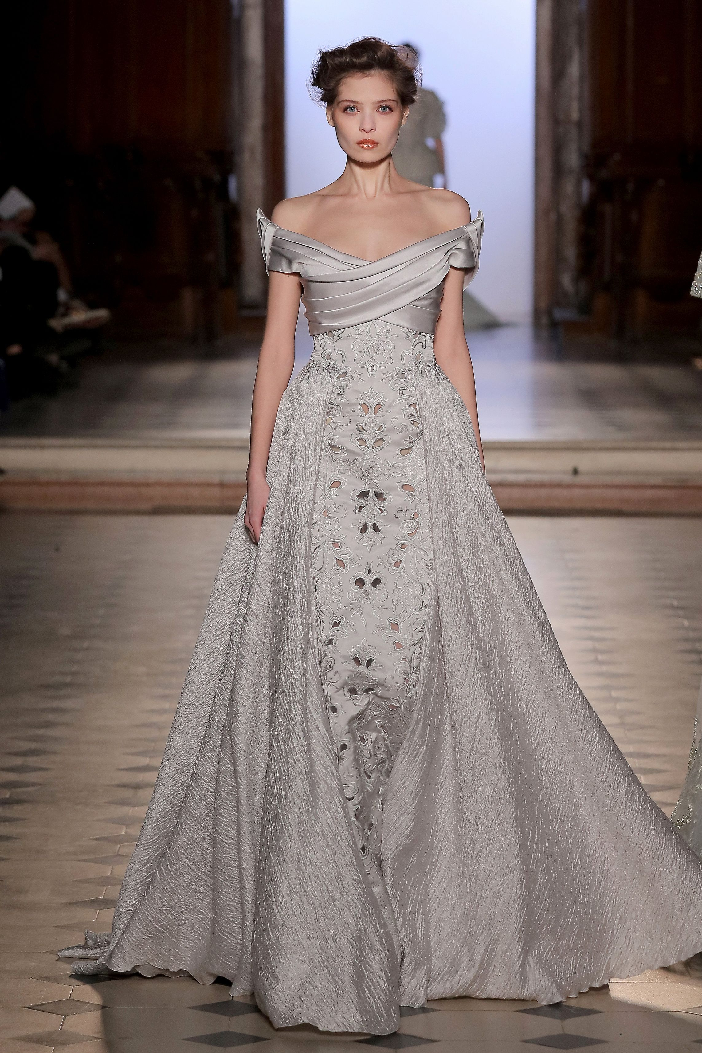 7cd86a407ae Tony Ward Couture richy embellished evening gown in soft grey. Enjoy  RUSHWORLD boards