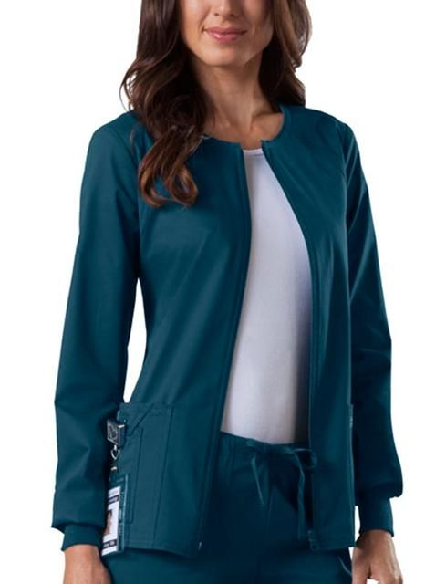 The Workwear Core Stretch Women s Warm-Up scrub jacket by Cherokee Scrubs is a jewel neck zip front warm-up #jacket   http://to.faearch.me/1GQ5grR