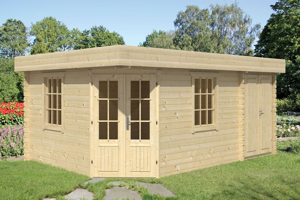 Helge with Shed Annexe 3.5x5.0m Roof boards, Shed, Door