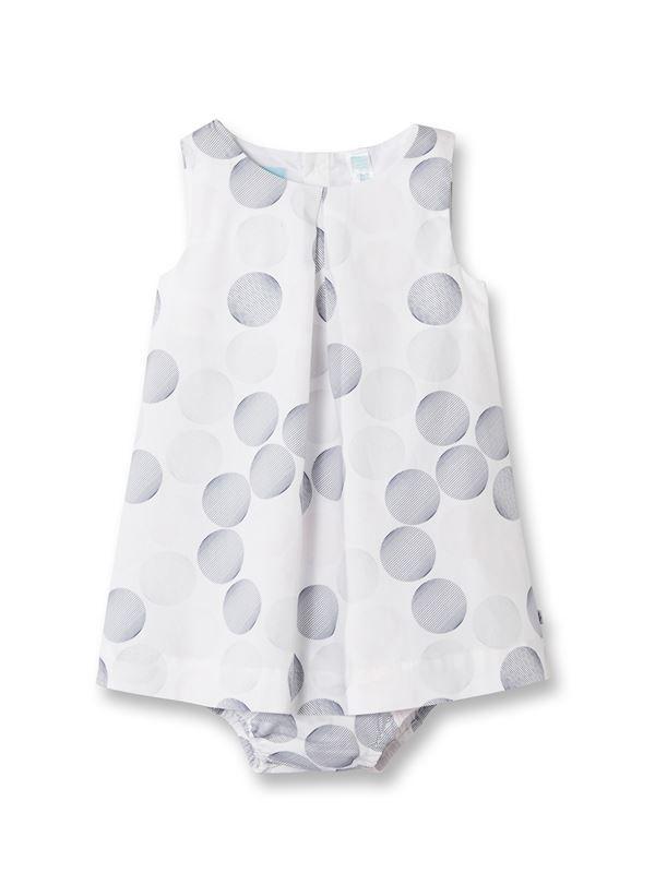 Robe chasuble sans manches bébé fille. Popeline de coton imprimée allover 314c1a9e8da