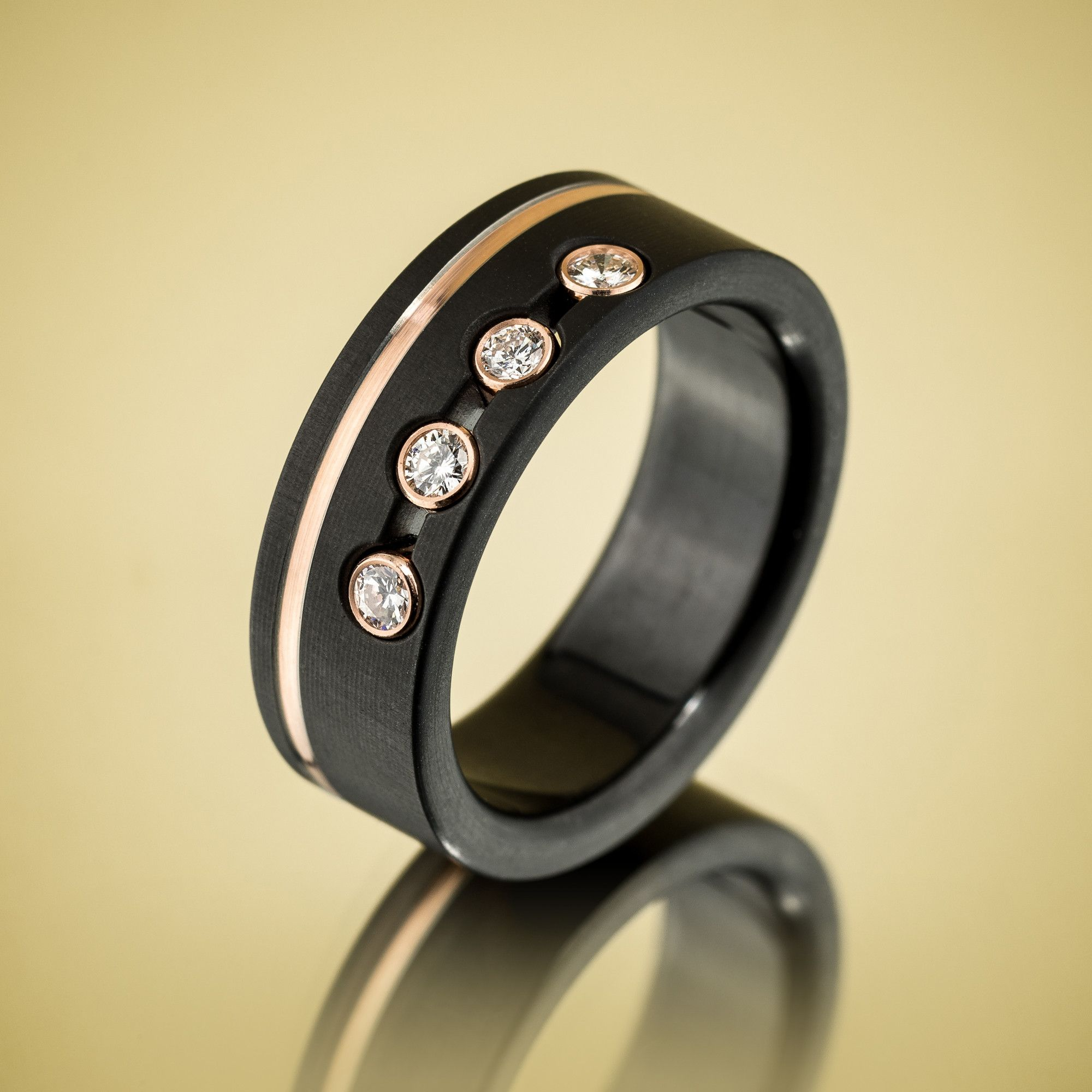 black zirconium rose gold diamond ring