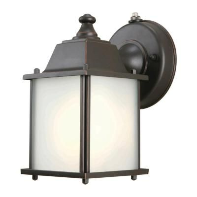 2587fab78d6 Hampton Bay 1-Light Oil-Rubbed Bronze Outdoor Dusk-to-Dawn Wall-Mount  Lantern-BPM1691P - The Home Depot