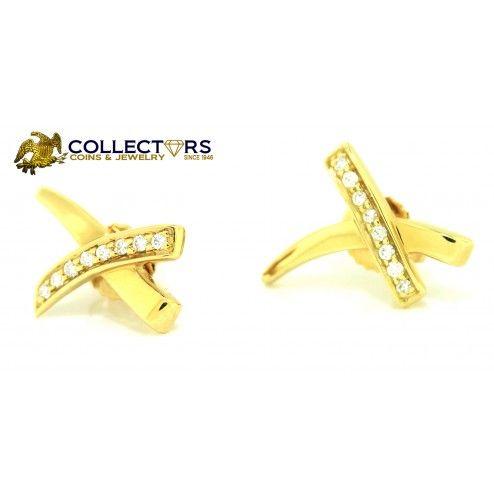 Authentic Tiffany Co Paloma Pico 18k Yellow Gold Diamond X Kiss Earrings Xoxo Ccj