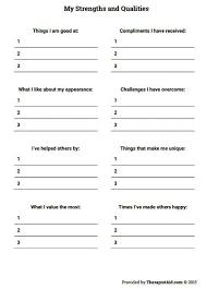 Free Printable Self Help Worksheets For Teenage Girls