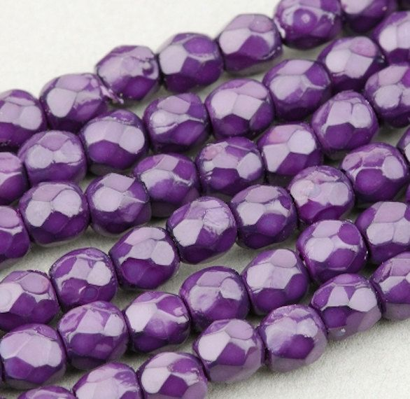 50 Amethyst//Silver Czech Firepolish Faceted Round Glass Beads 3mm