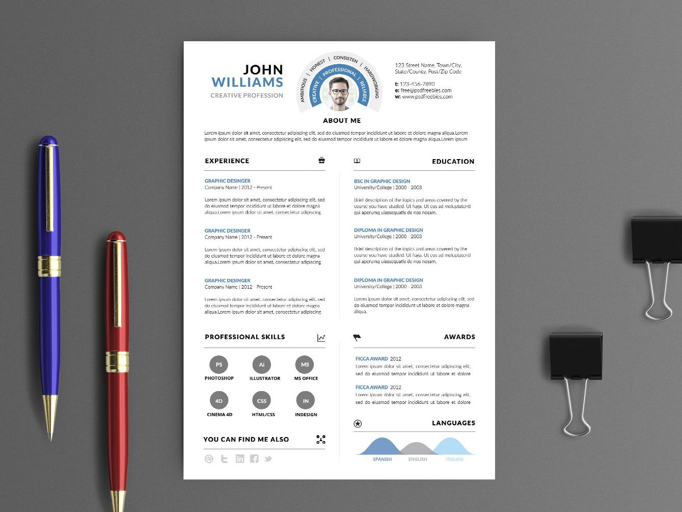 Free Clean Infographic PSD Resume Template Resume