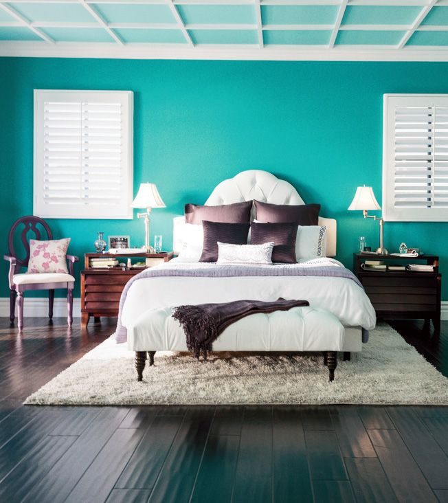 Opposites attract. Pretty purple accents with bold, bright teal ...
