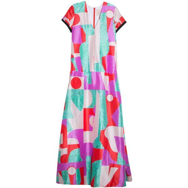 ROKSANDA Fluro Bryant Dress ($1,832) ❤ liked on Polyvore featuring dresses, zipper back dress, multi colored dress, pink silk dress, pattern dress and pink frilly dress