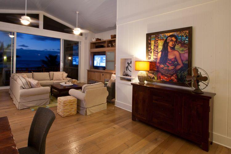 Living room with ocean view, Banana Beach House, Kauai.