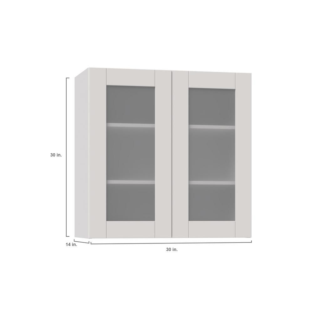 J Collection Shaker Assembled 30x30x14 In Wall Cabinet With Frosted Glass Doors In Vanilla White Wg3030 Ws The Home Depot In 2021 Wall Cabinet Glass Cabinet Doors Dream Kitchen Layout