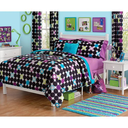 For M? Your Zone Color Block Dot Comforter Set (@walmart