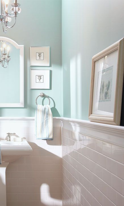 subway tile half wall blue inspiration for the bathroom