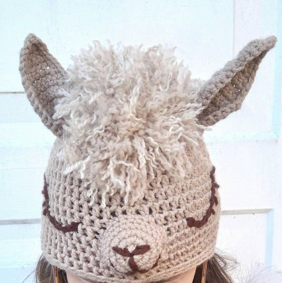 Crochet alpaca hat for adults funny crochet hat llama hat  d530f26a5a9