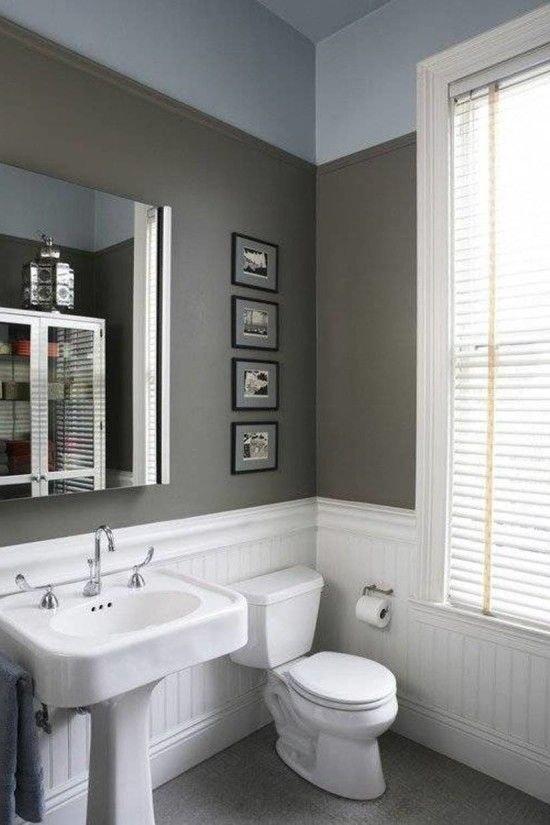 white wainscoting bathroom vanity White Beadboard Wainscoting In Bathroom With Grey Wall