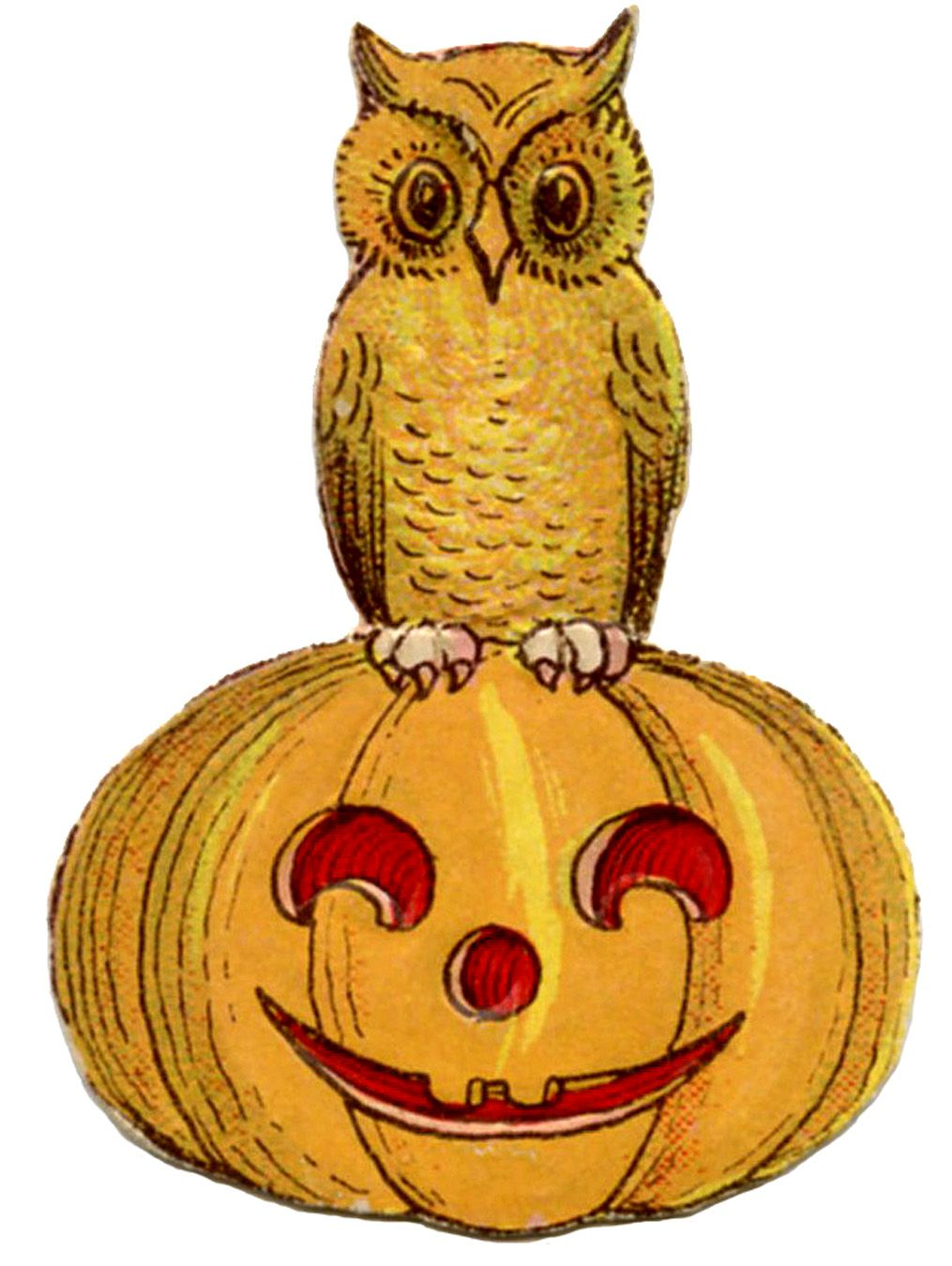 Vintage Halloween Clip Art - Cute Owl on Pumpkin ...