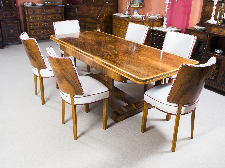 Antique Art Deco Burr Walnut Dining Table & 6 Chairs C1930