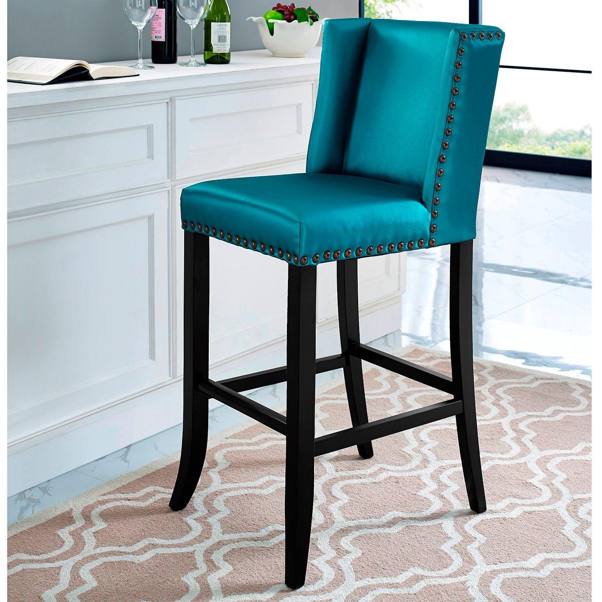 TOV Furniture Denver Blue Counter Stool w/ Bronze Nailhead | Counter ...