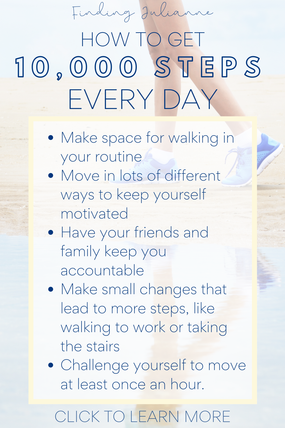 If you want to improve your fitness, lose weight, or simply enjoy all the benefits of walking, you need to MOVE! Here are my top tips to hit your 10000 step a day goal on your fitbit or step counter. Click to learn more about how you can join my step challenge! #10000steps #fitness #10000stepsaday #fitbit