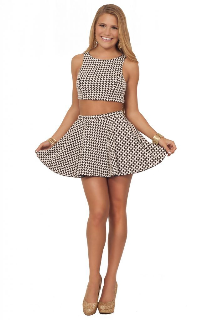 b68e2927b97f Junior Sexy Houndstooth Crop Top Skater Skirt Two Piece Color Crop Top And Skirt  Set