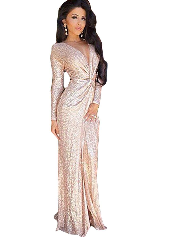 Long Sleeves Plunge V Neck Ruched Rose Gold Sequins High Slit Dress ... 13ec710c2