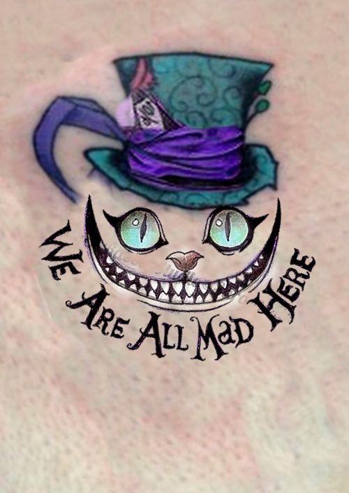 Alice In Wonderland Cat Tattoo : alice, wonderland, tattoo, Cheshire, Alice, Wonderland, Here