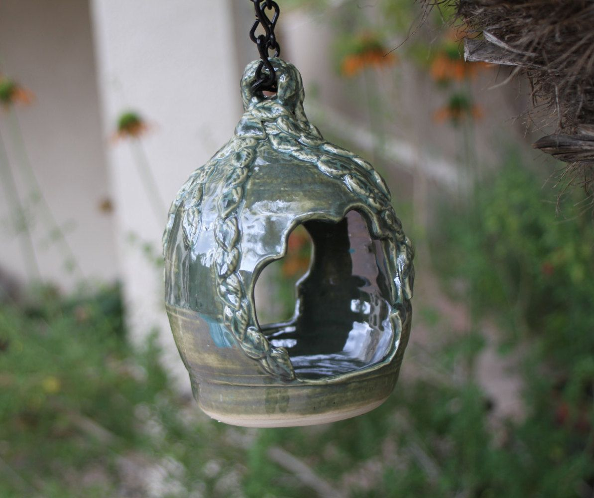 Green Hanging Bird Feeder Ceramic Handmade Bird Feeder Garden Art Pottery  Garden Decor Unique Garden Gifts