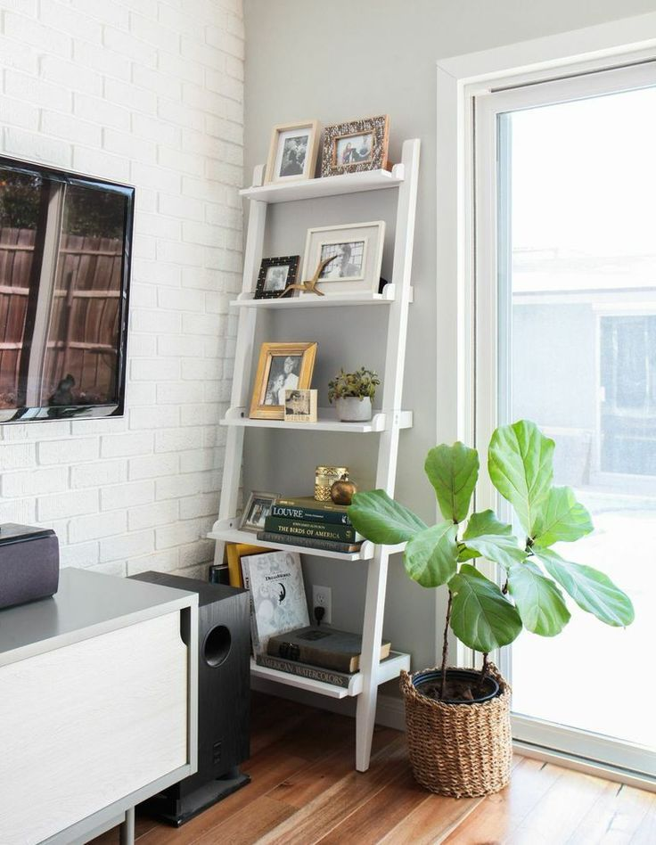 Weekend Makeover Mid Century Eclectic Artist Ladder Shelf Decor Shelves Corner