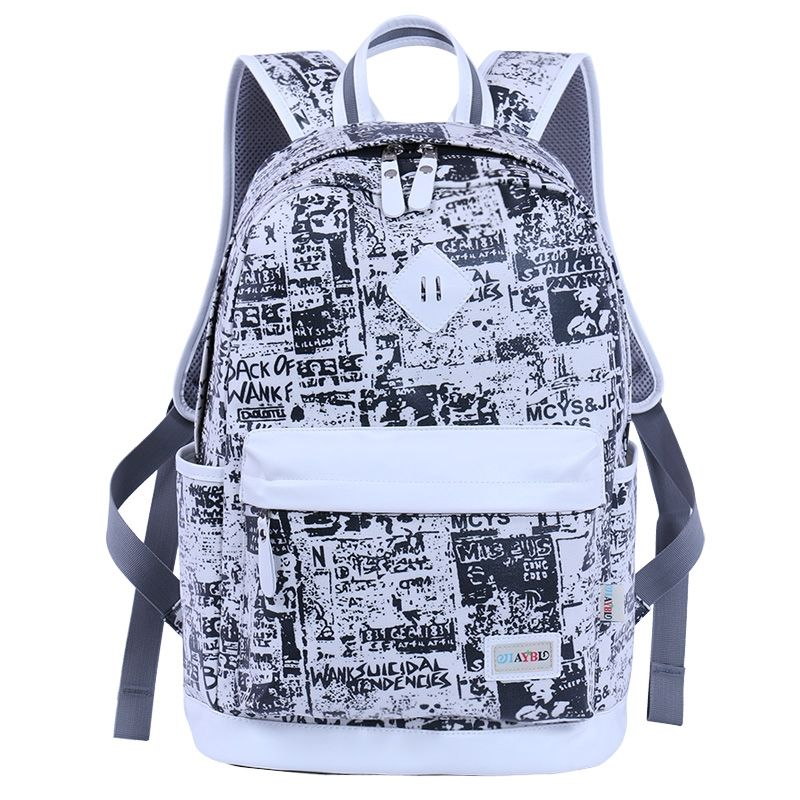 Black canvas with white leather trim women travel backpack preppy style school bag monogrammed graffiti print