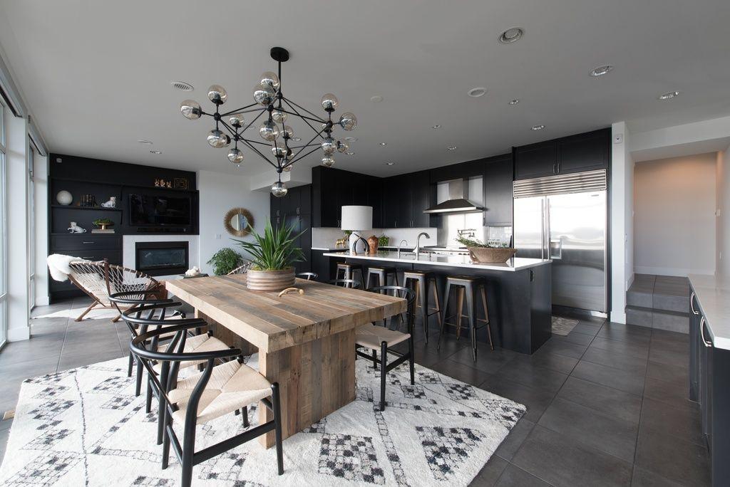 Modern Kitchen With Breakfast Nook Chandelier High Ceiling Custom Modern Kitchen Nook Design Ideas