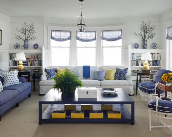 Yellow And Blue Living Room; Nice, Neat, But Inviting, Not Sterile