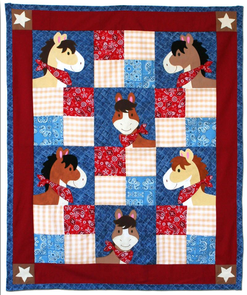 Pony Tales Western Themed Quilt with appliquéd horse heads. In Red ... : horse material for quilts - Adamdwight.com