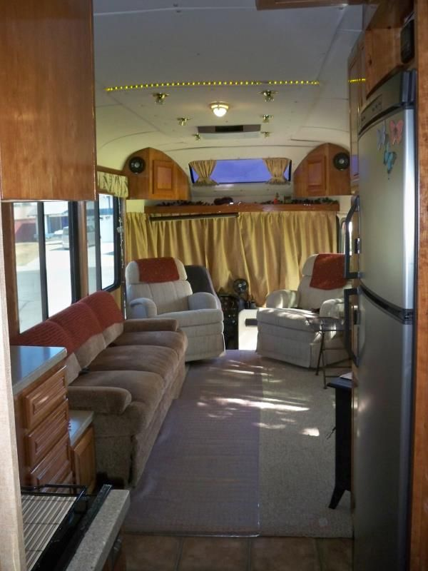 Living Room And Driving Area DIY RV Conversion