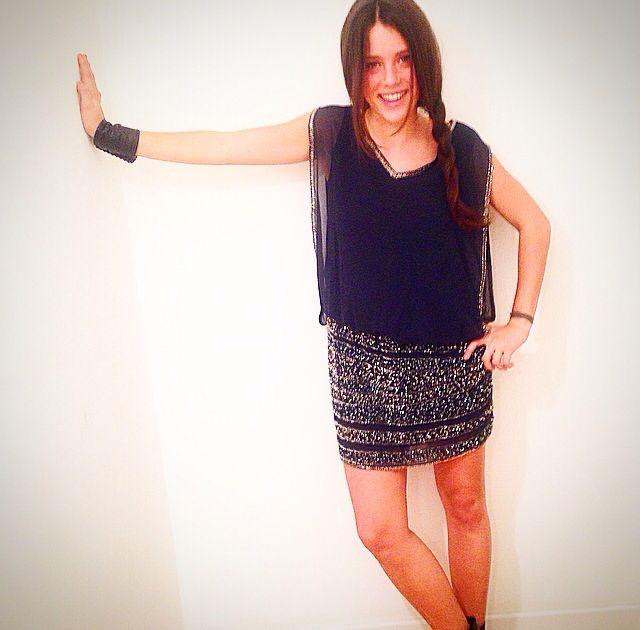 Debi Debo . Silk and paillettes dress