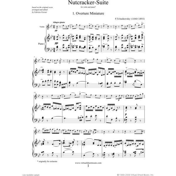 Nutcracker Suite Violin And Piano Sheet Music By