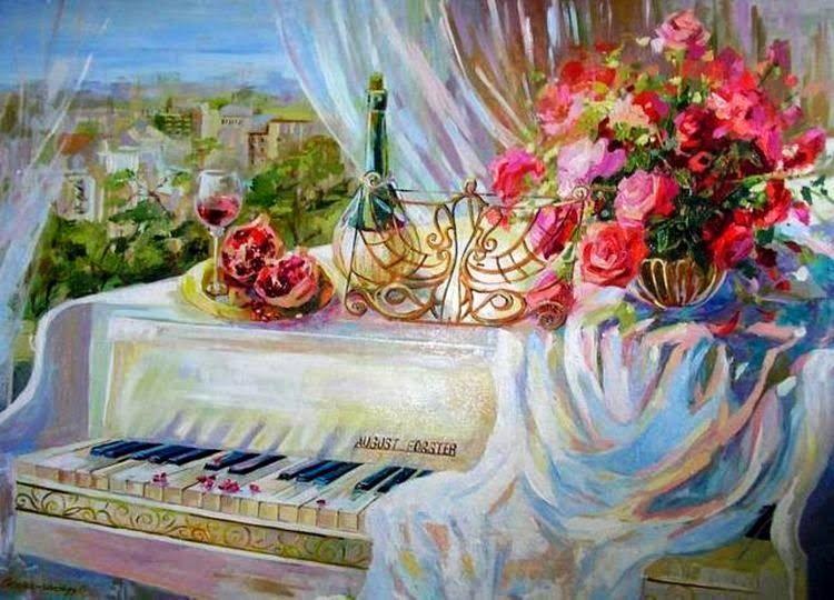 Картинка с днем рождения с пианино, любимая