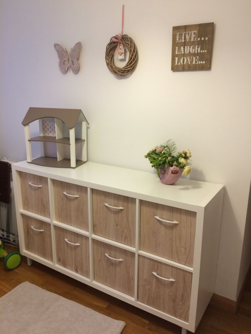 Our Ikea Kallax Hack Added 4 Metal Legs Cut Up And Glued Some  # Relooker Meuble Expedit Ikea