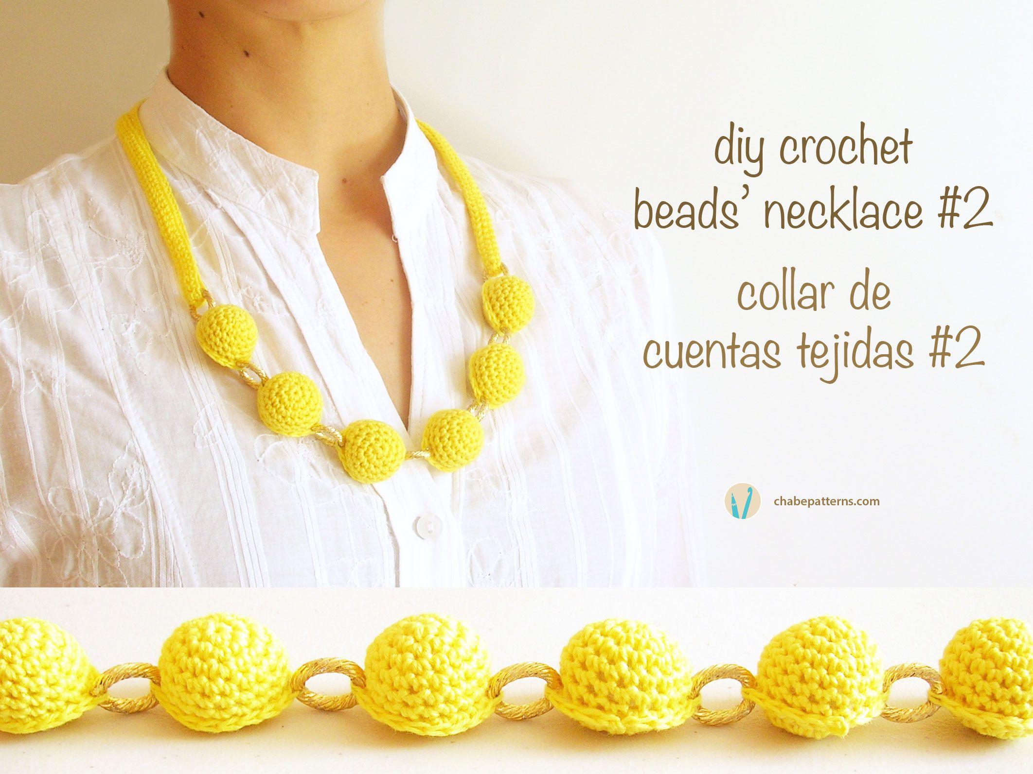 Crochet pattern for beads\' necklace #2/ Patrón gratis para collar de ...