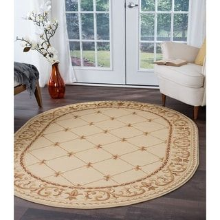 Alise Rugs Soho Traditional Border Oval Area Rug 6 7 X 9 6