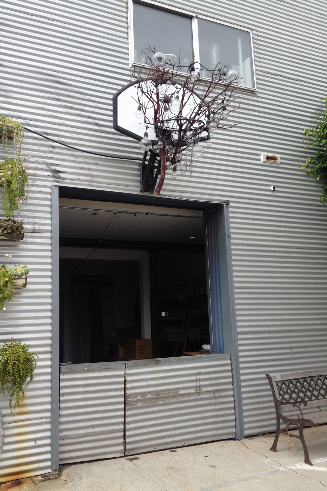 Beach House Upcycling Basketball Hoop Repurposed As An Outdoor Light Fixture