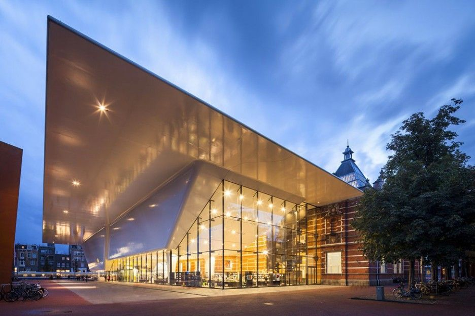 Impressive Contemporary Additions Make the Museum More Stunning: Great Amsterdam's Stedelijk Museum Modern Architecture Evening View