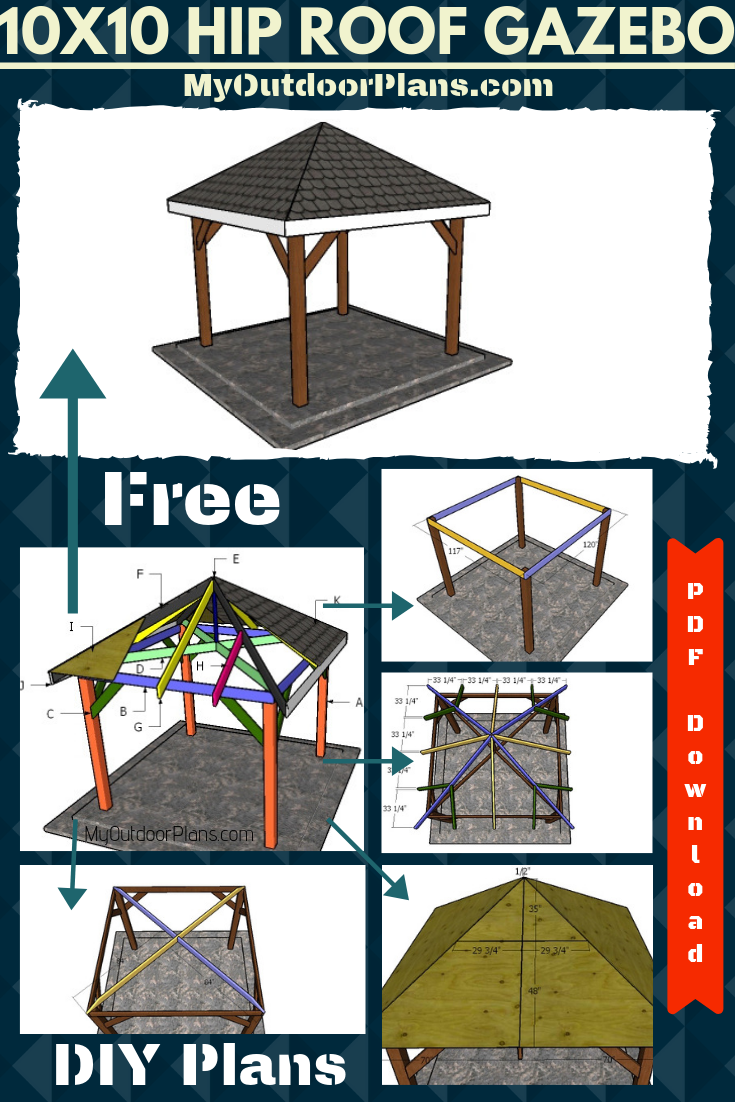 10x10 Wooden Gazebo With Hip Roof Plans Diy Gazebo Gazebo Gazebo Roof