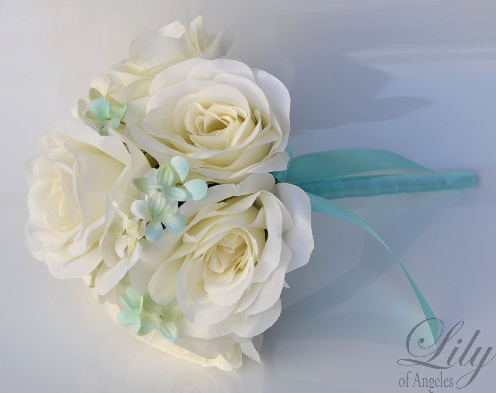 Wedding Bridal Bouquets 17 Piece Package Silk Flower Bouquet